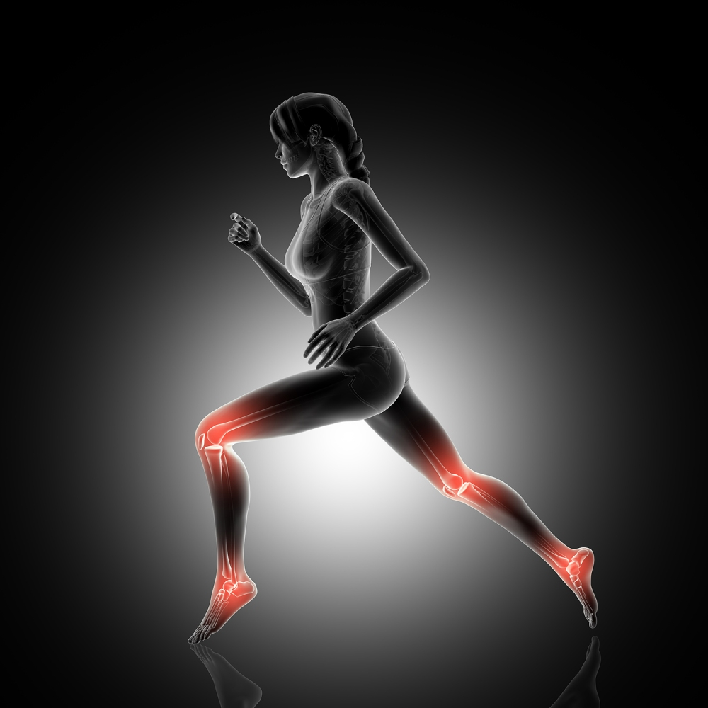 3D female figure jogging with knee and ankle joints highlighted